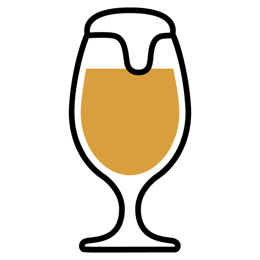 Line drawing of an American IPA in a beer glass