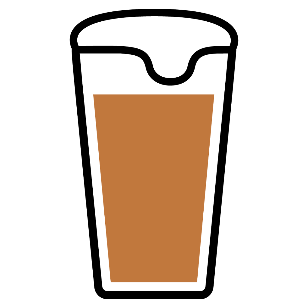 Line drawing of a Brown IPA in a beer glass