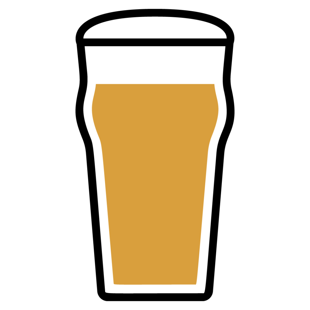Line drawing of an English-Style IPA in a beer glass