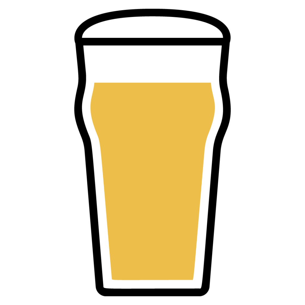 Line drawing of a New England IPA in a beer glass
