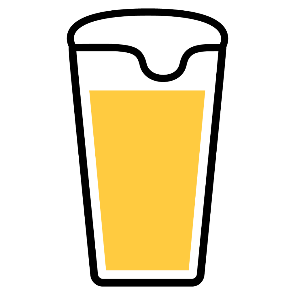 Line drawing of a White IPA in a beer glass