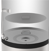 Large conical heating element covers 80% of the base surface for maximum heating efficiency, reduced hot spots/scorching and easy cleaning