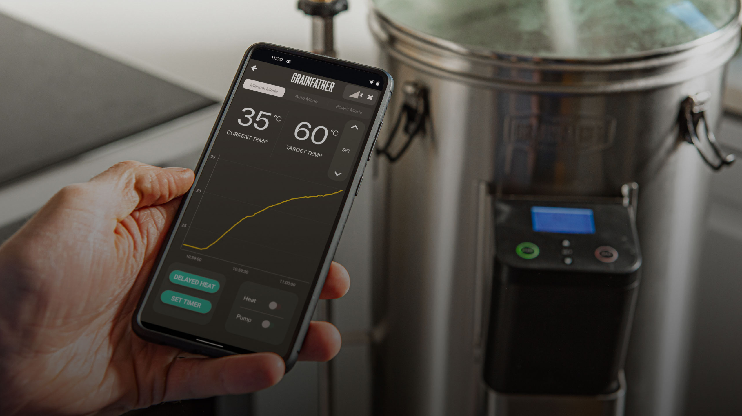 Grainfather Brewing Equipment Controlled by the Free Mobile App